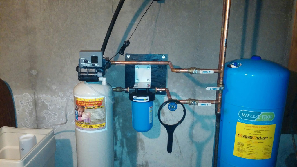 Connecticut Well Treatment cartridge filter, water softener and storage tank